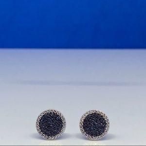 🆕S925 Sapphire Earnings Black Rhodium White Topaz
